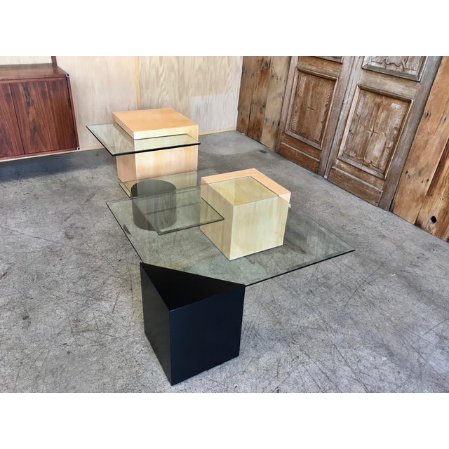 Late 20th Century Modern Geometric Wood and Glass Multi-Level Coffee Table For Sale - Image 4 of 8