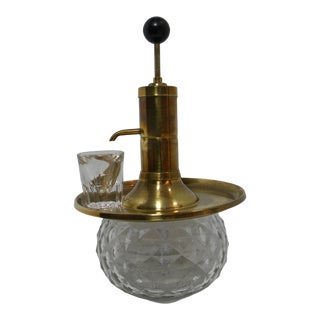 Vintage Brass and Glass Whiskey Dispenser with a Shot Glass For Sale