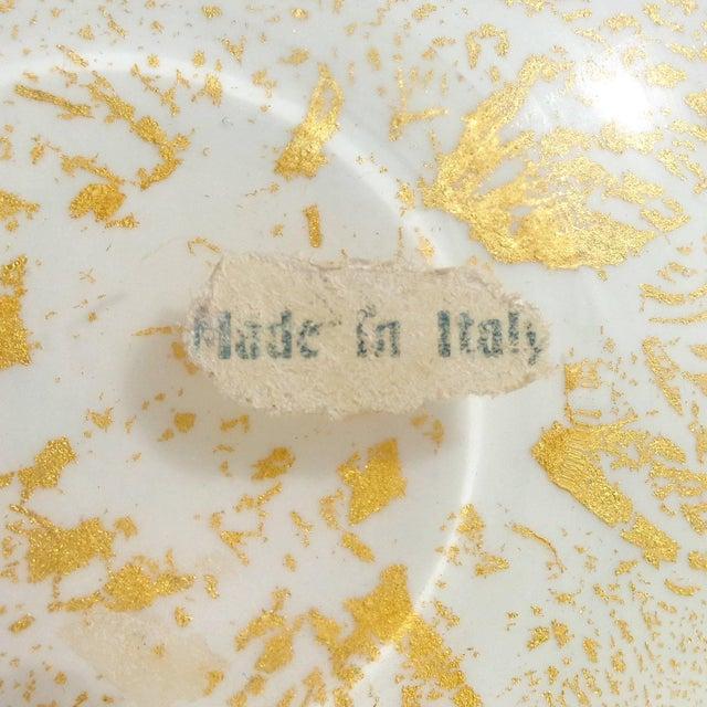 Mid 20th Century Murano Pink Aqua Green Swirl Gold Flecks Italian Art Glass Decorative Bowl For Sale - Image 5 of 6