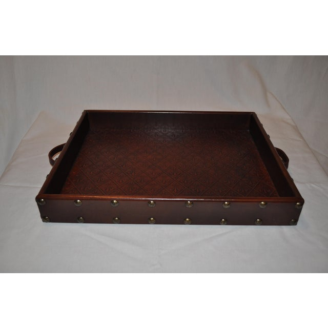 Embossed Leather Tray by Sarreid Ltd. - Image 4 of 6