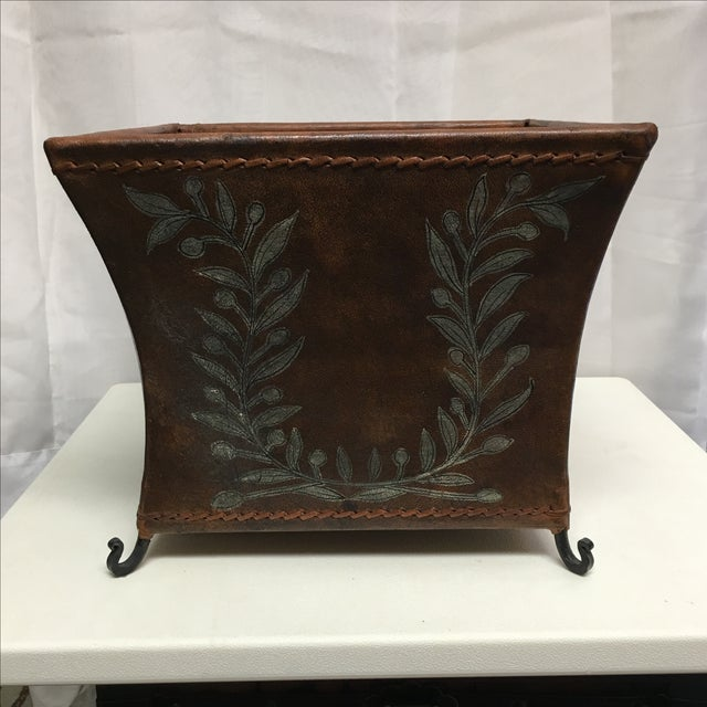 Transitional Brown Leather Planter - Image 2 of 5