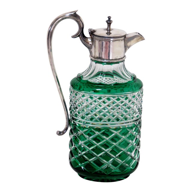 Antique Bohemian Cut Glass Emerald Green Wine Pitcher For Sale