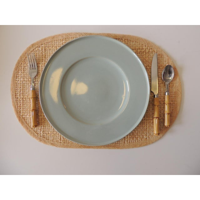 Vintage Set of (4) Woven Hemp and Raffia Oval Placemats Asia Size: 18 x 12 x 0.25