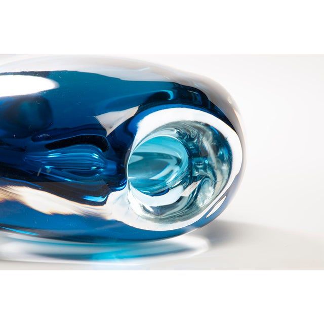 Blue Tall Blue Sommerso Art Glass Vase For Sale - Image 8 of 12