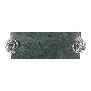 Vintage Arthur Court Green Marble Cheese Tray For Sale