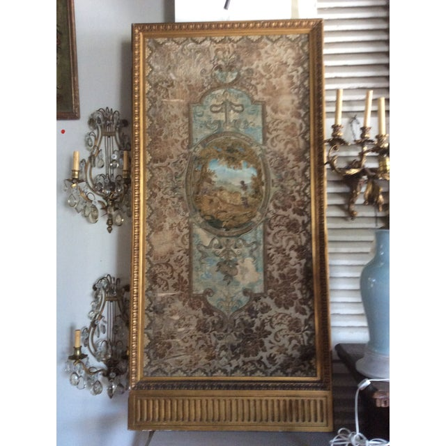 Gold Framed Stump Work Textile For Sale - Image 4 of 4