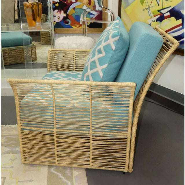 Boho Chic Twisted Raffia Lounge Chairs With Ottomans- a Pair For Sale - Image 4 of 11