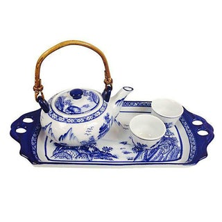 Blue & White Teapot, Tray, & Cups - Set of 4 For Sale