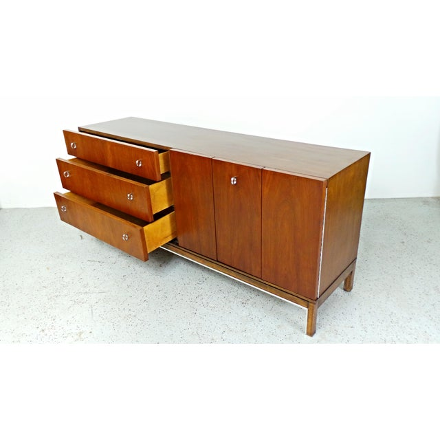 American of Martinsville Mid-Century Walnut & Chrome Dresser - Image 3 of 10