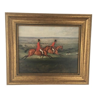 Across the Meadow Fox Hunting Scene Reproduction Print For Sale