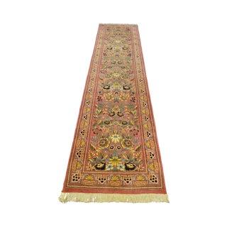 Hand Tied Pink Floral 12ft Long Oriental Rug Runner Carpet For Sale