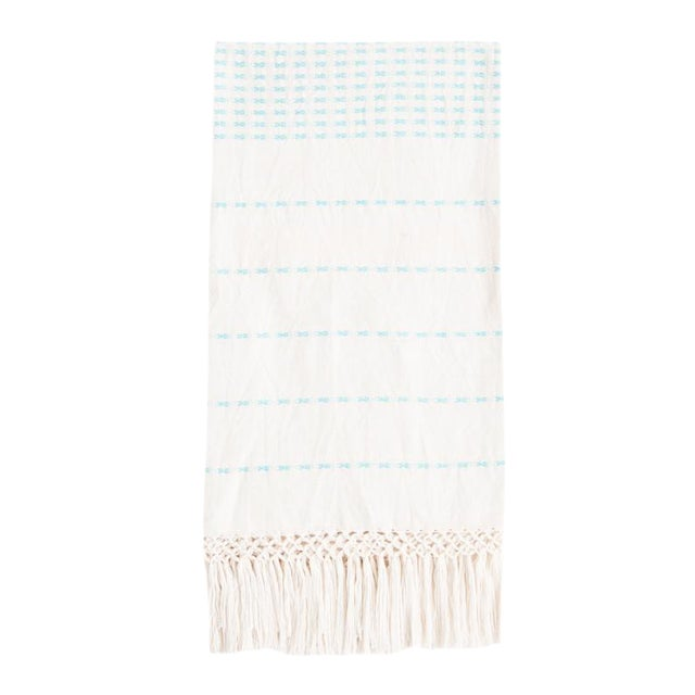 Cyan Blue Handwoven Mexican Throw - Image 1 of 3