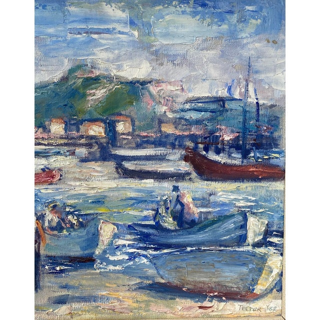 """Midcentury French Oil Painting on Canvas, """"Saint-Tropez, France"""" - 1962 For Sale - Image 4 of 13"""
