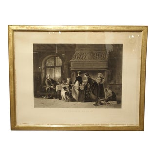 "Antique 1868 French ""Le Facteur Rural"" Lithograph in Giltwood Frame For Sale"