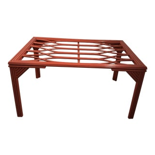 1970s Hollywood Regency Ficks Reed Red Rattan Dining Table For Sale