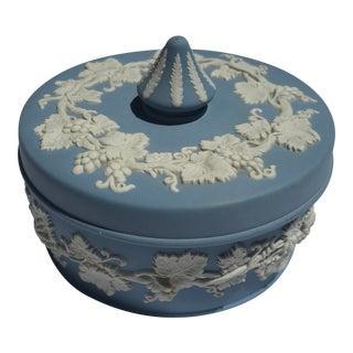 Wedgwood Vintage Jasperware Blue Grape Design Covered Dish For Sale