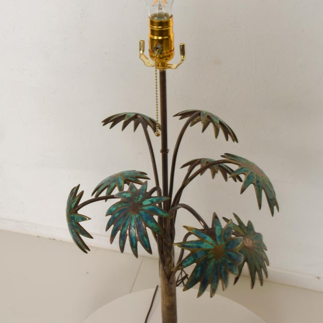 1950s Pepe Mendoza Palm Tree Table Lamp in Bronze & Malachite, Mexico For Sale - Image 10 of 11