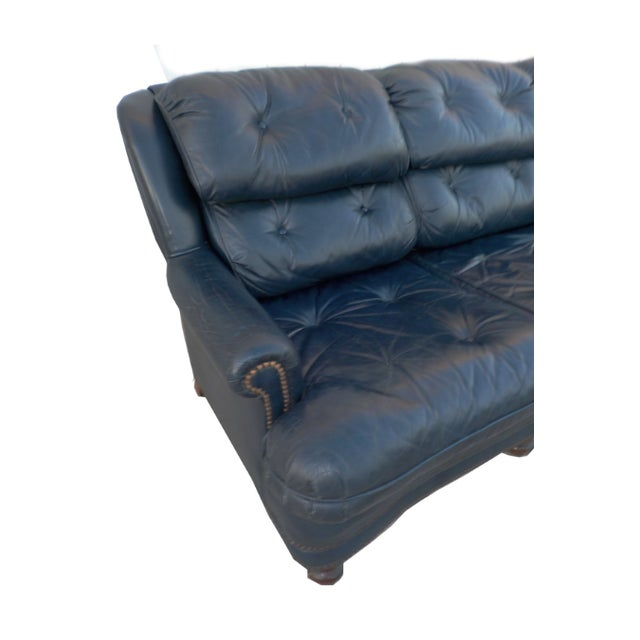 Vintage Tufted Blue Leather Chesterfield Sofa - Image 6 of 7