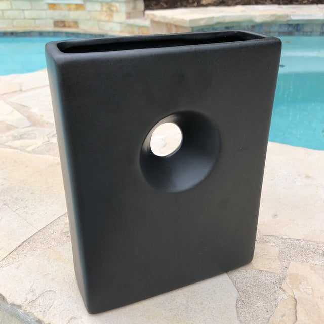 Modernist Matte Black Ilebana Vase For Sale - Image 10 of 11