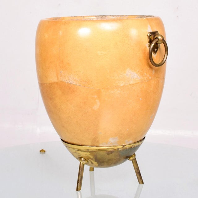 Mid-Century Modern 1950s Aldo Tura Goatskin and Brass Ice/Champagne Bucket, Midcentury For Sale - Image 3 of 10