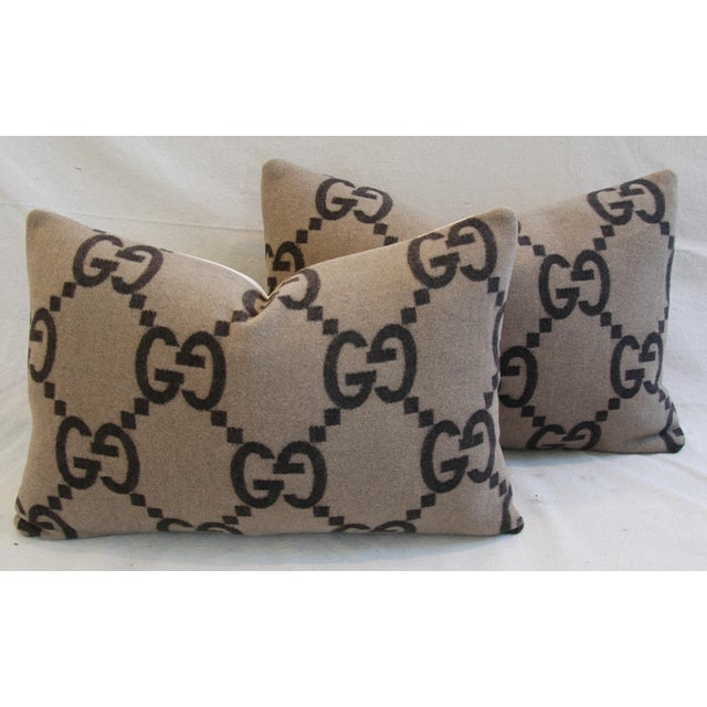Pair of custom-tailored pillows created from an authentic vintage/never used Italian Gucci cashmere and wool blanket...