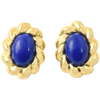 20th Century Contemporary Lapis Lazuli Sculpted Gold Clip Earrings - a Pair For Sale