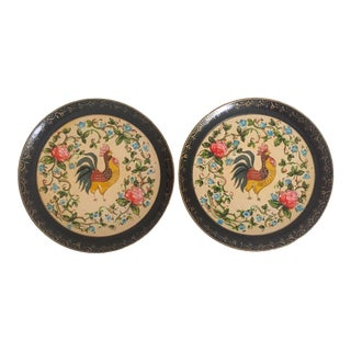 Vintage 1940's Japanese Hand Painted Lacquer Rooster Decorative Plates - a Pair For Sale