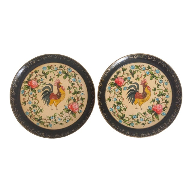 Vintage 1940's Japanese Hand Painted Rooster Decorative Plates - A Pair For Sale