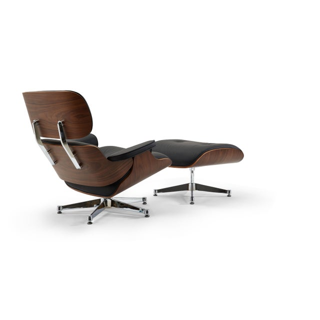 Pasargad's Florence Black Leather Lounge Chair & Ottoman For Sale In New York - Image 6 of 10