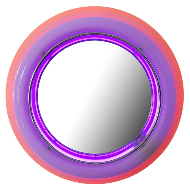 Sottsass Style Round Neon Wall Mirror & Light For Sale - Image 5 of 8
