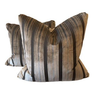 "Gray Cut Velvet Stripe 22"" Pillows-A Pair For Sale"