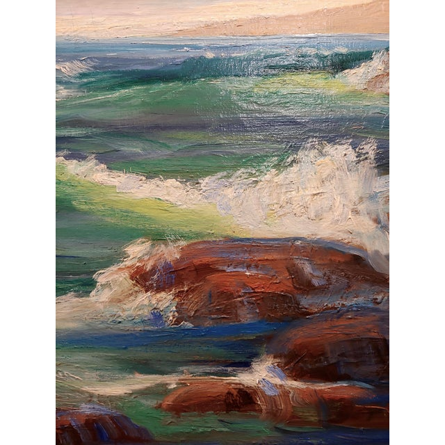 1940s James Arthur Merriam California Rocky Seascape Oil Painting For Sale - Image 5 of 9