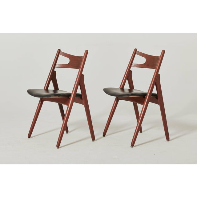 Mid-Century Modern Set of Six Hans Wegner Ch-29 Sawbuck Dining Chairs, Carl Hansen, Denmark For Sale - Image 3 of 13