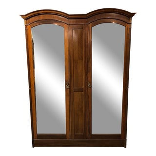 Vintage 5-Piece Mirrored Front English Armoire