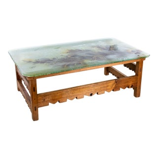 California Ranch Sea Glass Top Coffee Table For Sale