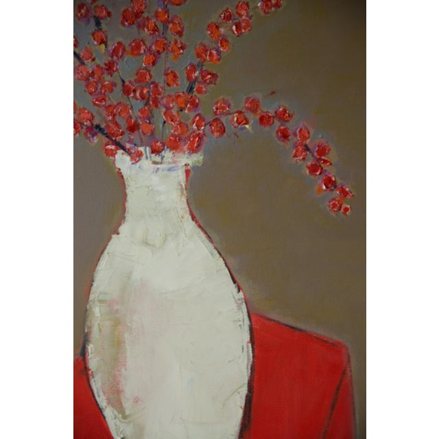 """2020s Bill Tansey """"White Vase With Berries"""" Oil on Canvas For Sale - Image 5 of 5"""