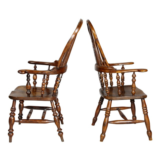 Early 19th Century Set of Four Assembled Regency Yewwood Windsor Armchairs For Sale - Image 5 of 13