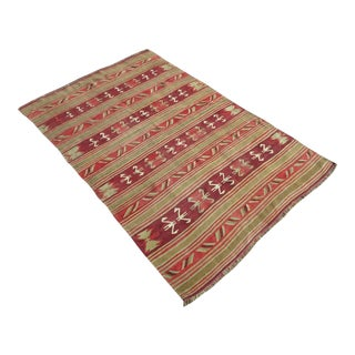 "Vintage Turkish Kilim Tribal Rug-4'7'x7"" For Sale"