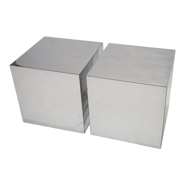 PAIR OF CHROME CUBES ATTRIBUTED TO PAUL EVANS For Sale