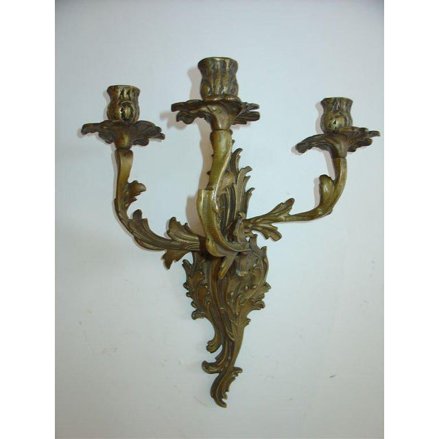 French Rococo Louis XV Style Bronze Three-Arm Sconces a Pair For Sale In Chicago - Image 6 of 9