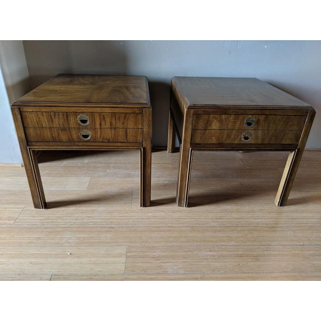 Gold 1970s Campaign Drexel Side Tables - a Pair For Sale - Image 8 of 8