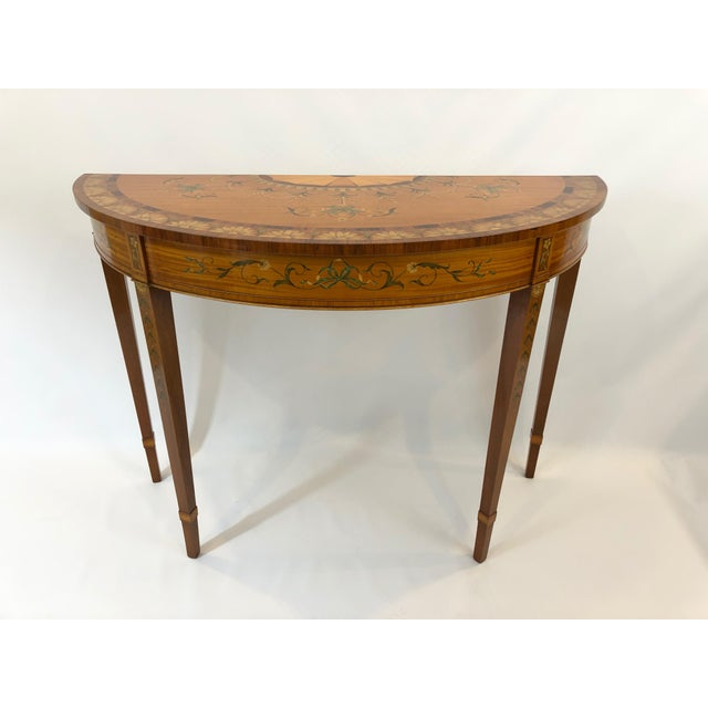 1970s Traditional Hand Painted Demilune Console Table For Sale - Image 13 of 13