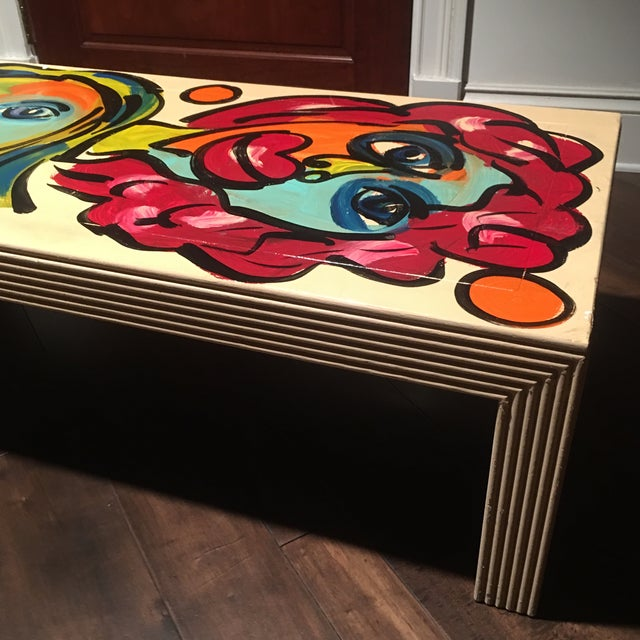 1970s Peter Keil Hand Painted Abstract Coffee Table For Sale - Image 9 of 13