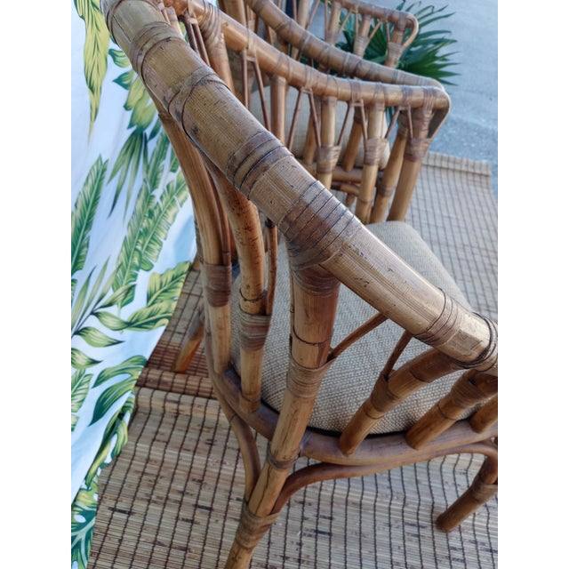Tan Vintage Coastal Regency Bamboo Side Chairs Wheat Upholstered Seats -A Pair For Sale - Image 8 of 12