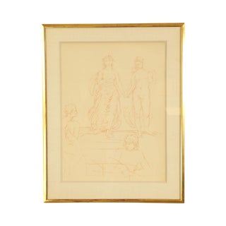 Hans Von Marees, Framed Sanguine Lithograph Artist Drawing of Women (B) For Sale