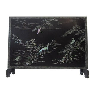 Japaned Screen With Greek Key Abalone Inlay For Sale