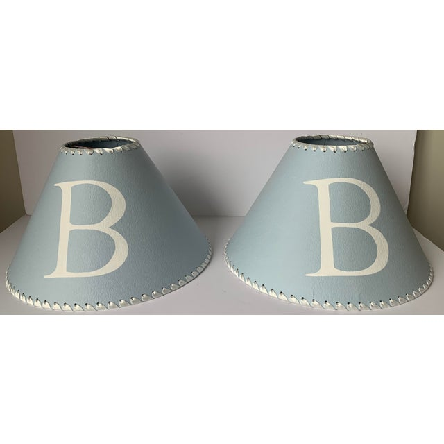 Sky Blue Light Blue B Monogram Lampshades - a Pair For Sale - Image 8 of 8