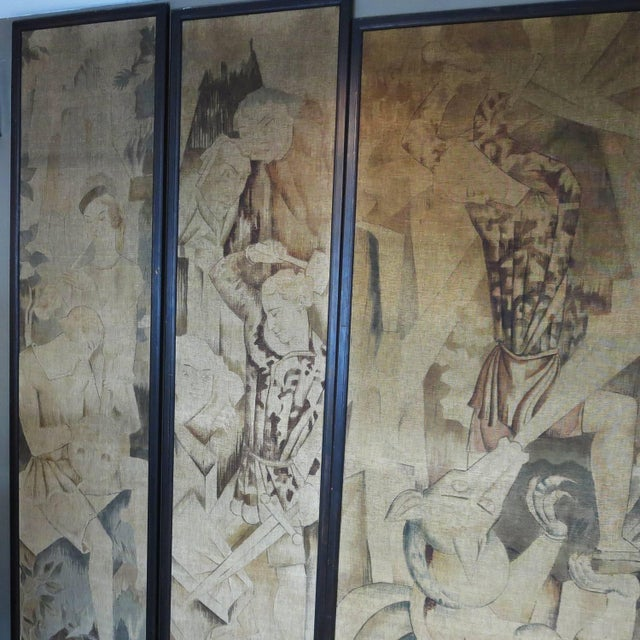 Art Deco Art Deco Theatre Painted Tapestry Panels, Set of Five For Sale - Image 3 of 6