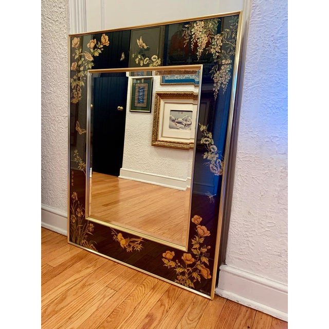 Offered here is a very rarely available beveled mirror, handcrafted by LaBarge. The fantastical, handpainted motifs...