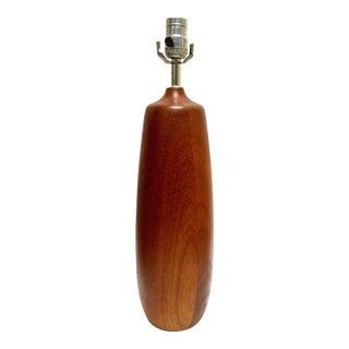 Vintage Wooden Slender Bullet Table Lamp For Sale